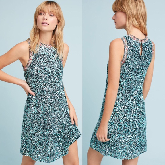 a8dab7d50fa4 Anthropologie Dresses | Astronomy Mint Sequin Swing Dress | Poshmark